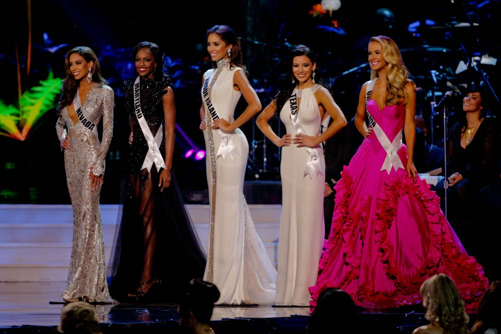 Miss Nevada Brittany McGowan, Miss Maryland Mame Adjei, Miss Rhode Island Anea Garcia, Miss Texas Ylianna Guerra and Miss Oklahoma Olivia Jordan competes during the 2015 Miss USA pageant in Baton Rouge, La., Sunday, July 12, 2015. (AP Photo/Derick E. Hingle) ORG XMIT: LADH113