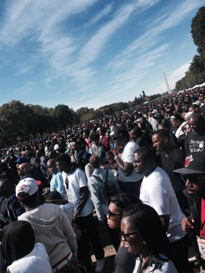 Heart broken that NO major news outlets covered the ‪#‎MillionManMarch‬ ‪#‎FOX‬ ‪#‎CBS‬ ‪#‎ABC‬ ‪#‎NBC‬ ‪#‎BBC‬ ‪#‎CNN‬ I guess if they can't make us look bad, they won't cover us at all???  Photo by: Michelle Williams via Facebook